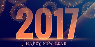 beautiful 2017 celebration greeting card design with fireworks
