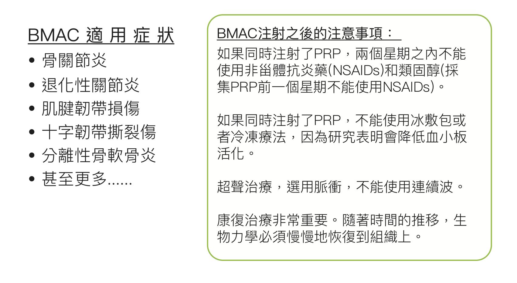 BMAC 適用症狀